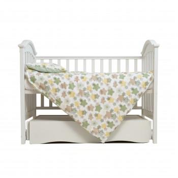 Сменная постель 3 эл Twins Comfort Soft (фланель) 3010-TS-06, Stars green, белый/зеленый