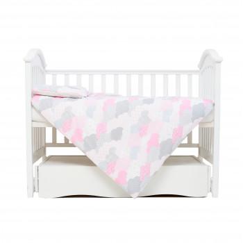 Сменная постель 3 эл Twins Comfort line 3054-C-08, Тучки, серый/розовый