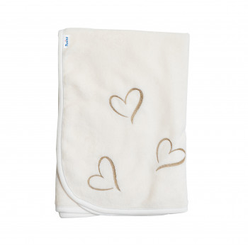 Плед Twins велюр Love (вишивка) 80х80 1410-TL-202, ecru/gold, бежевый/золото