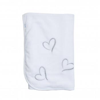 Плед Twins велюр Love (вышивка) 80х80 1410-TL-01-10, white/grey, белый/серый