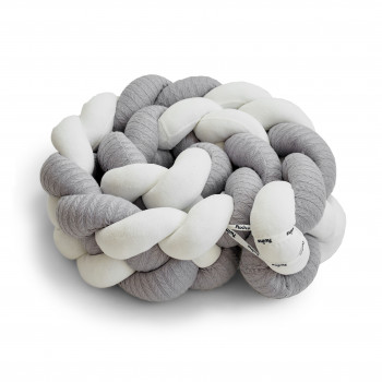 Бампер - косичка Twins 4-х прядна 240 см Pastel 2020-K4-240P-10, grey, серый