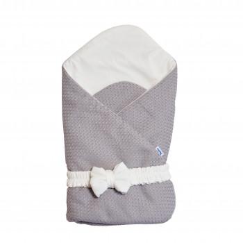 Конверт - плед с бантиком Twins Cotton 1418-TС-101, grey, светло серый