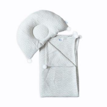 Плед и подушка ортопедическая Twins муслин жаккард 100х80 1421-TMPO-10, Мушля,белый/серый