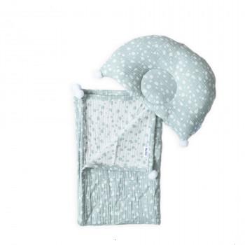 Плед и подушка ортопедическая Twins муслин жаккард 100х80 421-TMPO-14, Горошки, белый/мятный