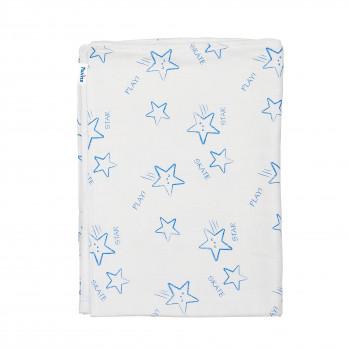Плед Twins муслиновый 110х75 / цвета в ассортименте 1410-110/75-04, Stars blue, белый / синий
