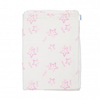 Плед Twins муслиновый 110х75 / цвета в ассортименте/ 1410-110/75-08, Stars pink, белый / розовый