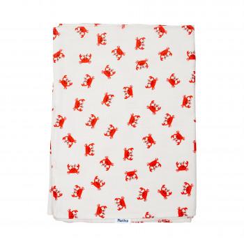 Плед Twins муслиновый 110х75 / цвета в ассортименте / 1410-110/75-12, Crab, белый / красный