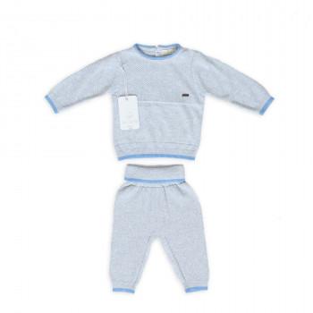 Костюм трикотажный Twins Leo Simple grey/blue, серый, 1-3 мес