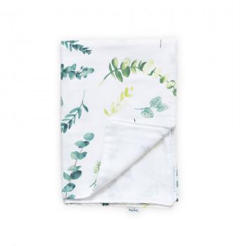Плед Twins муслиновый 110х75 / цвета в ассортименте/ 1410-110/75-06, Гілочка, белый/зеленый