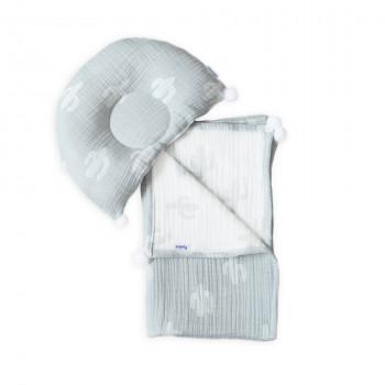 Плед и подушка ортопедическая Twins муслин жаккард 100х80 1421-TMPO-10, Кактуси, белый/серый