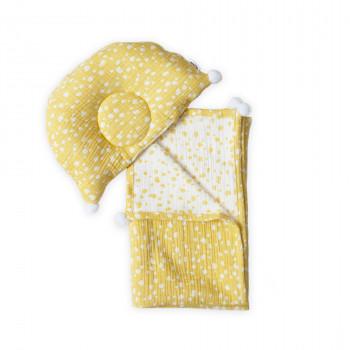 Плед и подушка ортопедическая Twins муслин жаккард 100х80 421-TMPO-05, Горошки,  белый/желтый