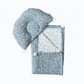 Плед и подушка ортопедическая Twins муслин жаккард 100х80 421-TMPO-04, Горошки, белый/голубой