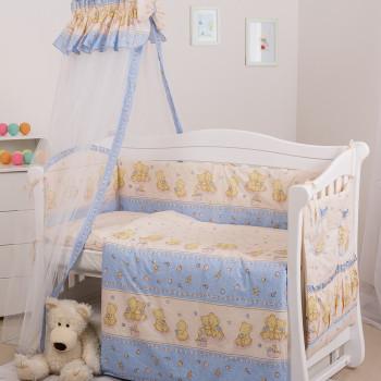 Бампер Twins Comfort 2051-C-015, Пушистые мишки голубые, голубой