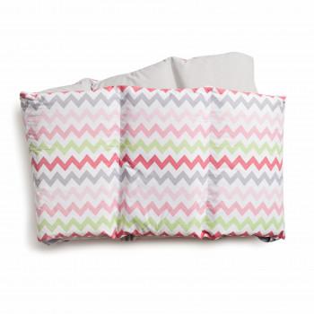 Бампер Twins Happy 2033-TH-30008, wave pink, сірий/рожевий