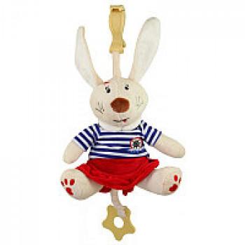 Плюшевая подвеска музыкальная Baby Mix Кролик STK-16390G, girl, белый / синий