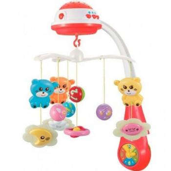 Мобиль Baby Mix пластиковый с проектором FS-35604 Мишки красный
