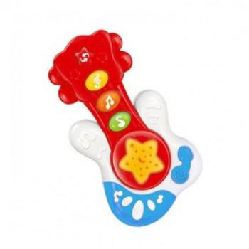 Пластиковая музыкальная Гитара Baby Mix PL-419750 красного цвета