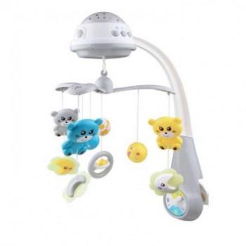 Мобиль Baby Mix пластиковый с проектором FS-35604 Мишки серый