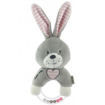 Плюшевая погремушка Baby Mix STK-19643R Кролик STK-19643PR, pink, розовый