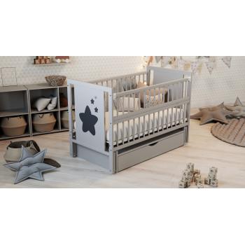 Кровать Дубок Звездочка с ящиком серый