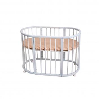 Кровать Twins Cozy овальное 170х70 круглая рейка Вышиванка, белый