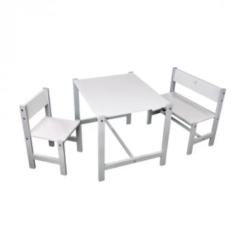 Комплект Twins Bo-Bo (стол, 2 стула) 9810-TB-01-10, бело / серый, белый / серый