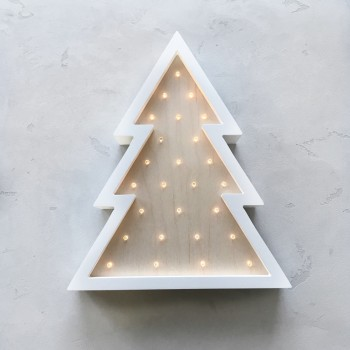 Ночник Sabo Елка N11wh2, дерево & белый, белый / беж
