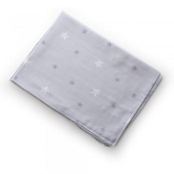 Плед Twins муслиновый 110х75 / цвета в ассортименте / 1410-110 / 75-С, Звездочка серая, серый