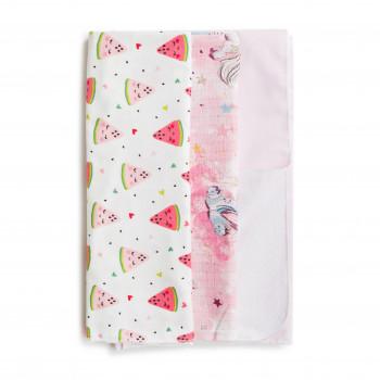 Набор пеленок Twins 3 шт (фланель, муслин, водонепроницаемая) 1599-TMIX3-08, girl, розовый