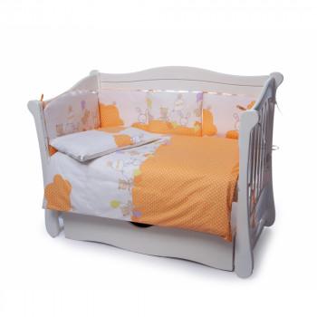 Постельный комплект 4 эл Twins Comfort New бампер подушки 4052-C-121, Горошки оранжевые, оранжевый