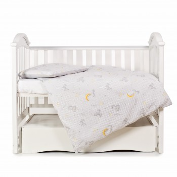 Сменная постель 3 эл Twins Premium Glamour Limited 3064-PGNEWZ-010, grey, зайчики и месяц серый