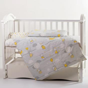 Сменная постель 3 эл Twins Modern 3040-PM-101, Зайчики желтые, серый / желтый