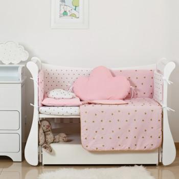 Постельный комплект 6 эл Twins Dolce Insta 4075-D-508, Сердечки розовый / золото, розовый