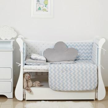 Постельный комплект 6 эл Twins Dolce Insta 4075-D-505, Микки голубой / серебро, голубой