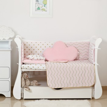 Постельный комплект 6 эл Twins Dolce Insta 4075-D-502, Микки розовый / золото, розовый
