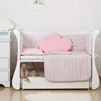 Постельный комплект 6 эл Twins Dolce Insta 4075-D-503, Микки розовый / серебро, розовый