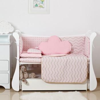 Постельный комплект 6 эл Twins Dolce Insta 4075-D-507, Зигзаг розовый / золото, розовый