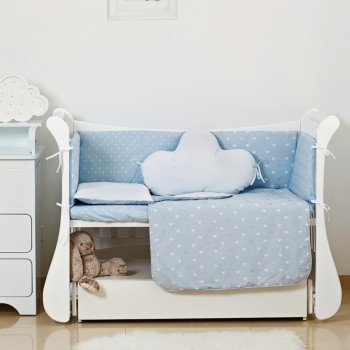 Постельный комплект 6 эл Twins Dolce Insta 4075-D-510, Сердечки голубой / серебро, голубой