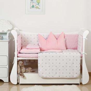 Постельный комплект 6 эл Twins Dolce Insta 4075-D-500, Корона розовая, розовый