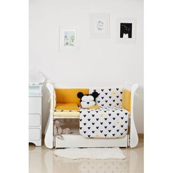 Постельный комплект 6 эл Twins Dolce Insta Mikki 4075-D-512, black / yellow, желтый / черный