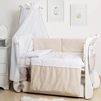 Постельный комплект 8 эл Twins Dolce Loving bear 4062-D-009, white / beige, белый / беж