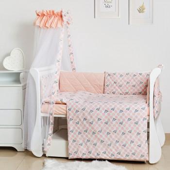 Постельный комплект 8 эл Twins Premium Glamour 4029-TG-08G, Polka Dots / Горохи pink, бежевый / розовый