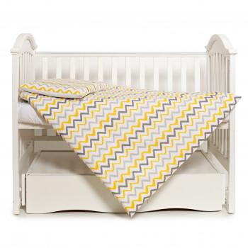 Сменная постель 3 эл Twins Happy 3033-TH-30005, wave yellow, белый/желтый