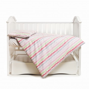 Сменная постель 3 эл Twins Happy 3033-TH-30008, wave pink, сірий/рожевий