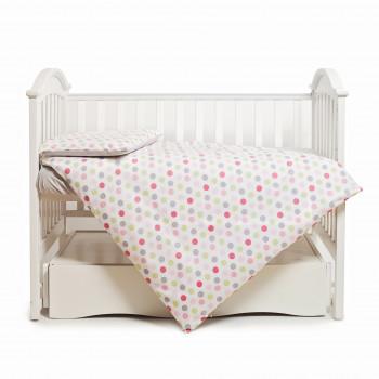 Сменная постель 3 эл Twins Happy 3033-TH-30108, Points pink, сірий/рожевий