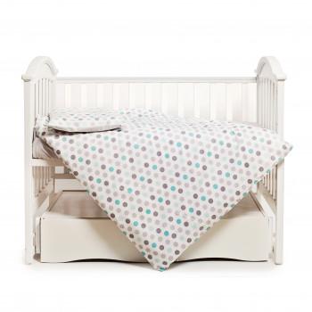 Сменная постель 3 эл Twins Happy 3033-TH-30114, Points mint, сірий/м''ятний