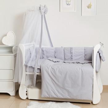 Постельный комплект 8 эл Twins Romantic Spring collection 4024-TR-10, grey, серый