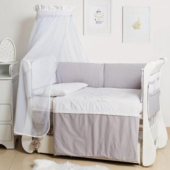 Постельный комплект 8 эл Twins Dolce Loving bear 4062-D-008, white / grey, белый / серый