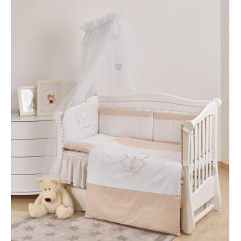 Постельный комплект 7 эл Twins Evo iLove 4073-A-038, beige, белый / беж