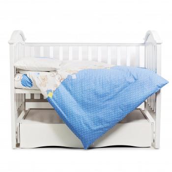Постельный комплект 4 эл Twins Comfort New бампер подушки 4052-C-120, Горошки голубые, голубой